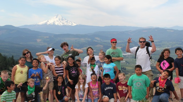 Students enjoying a day in the east hills of the Hood River Valley