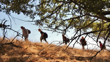 students trekking